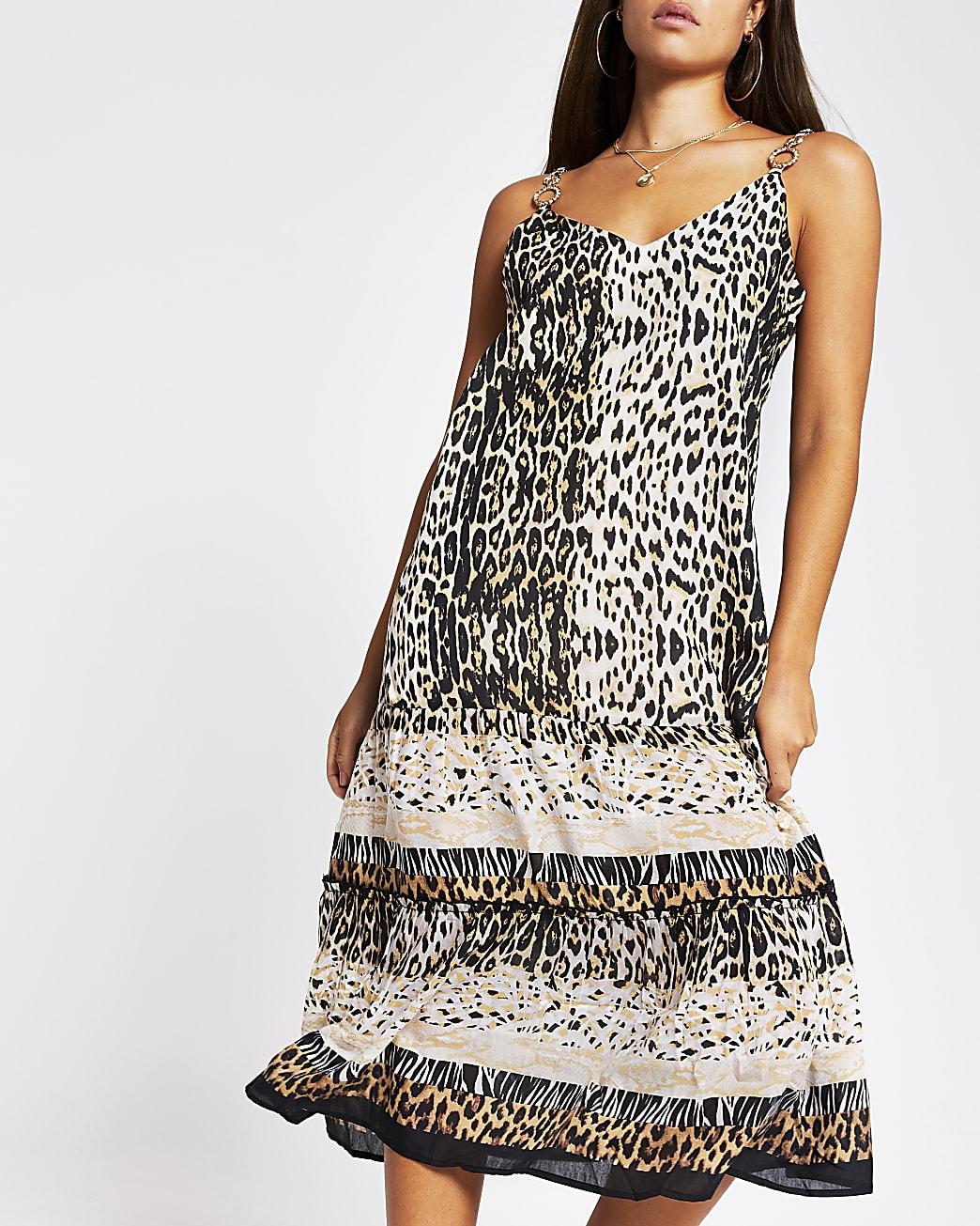 Brown animal print cami mid beach dress
