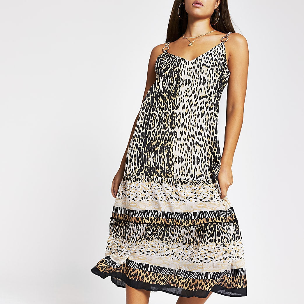 Brown animal print cami mid beach dress