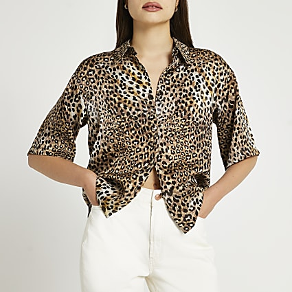 Brown animal print collared shirt