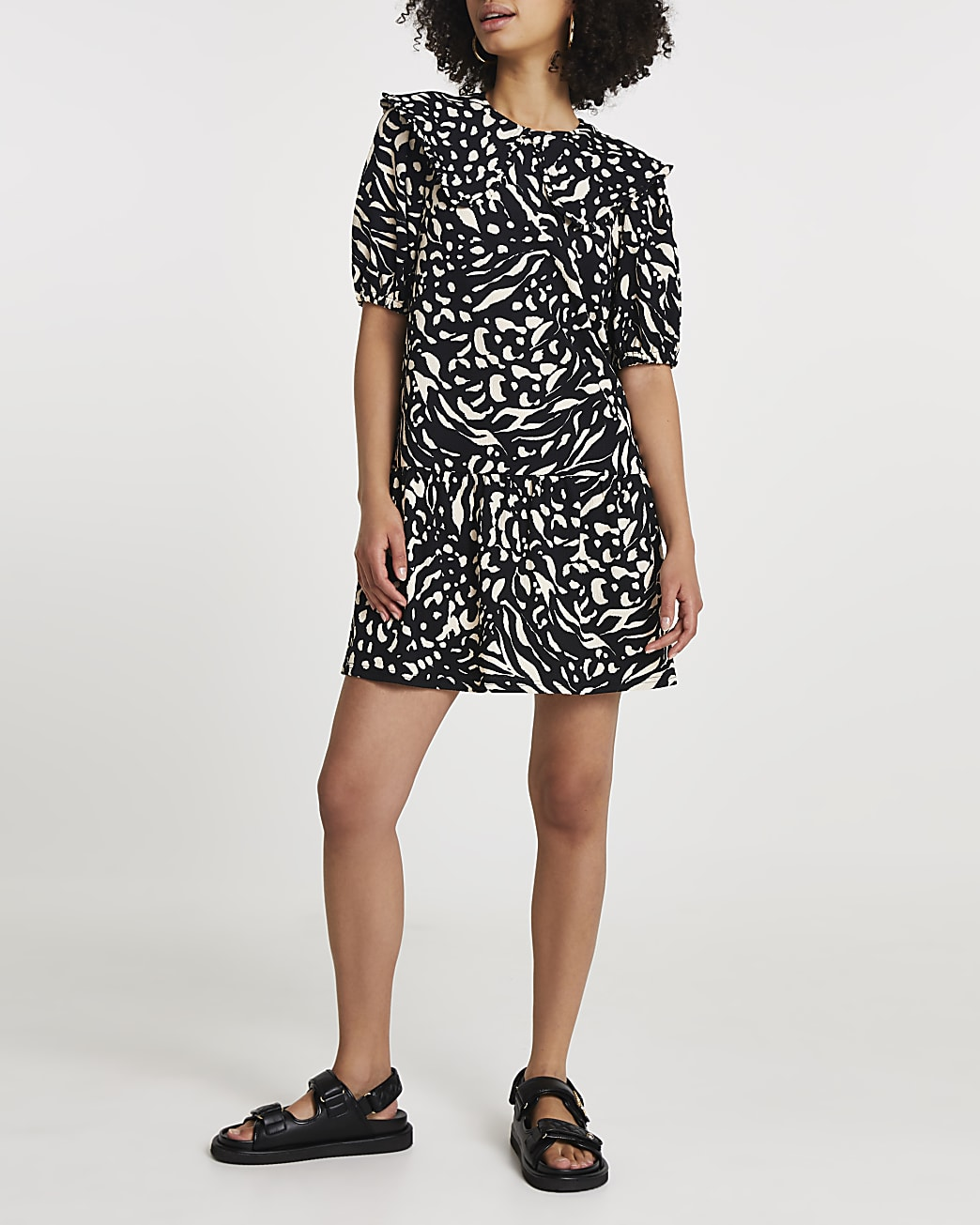 Brown animal print collared tiered mini dress