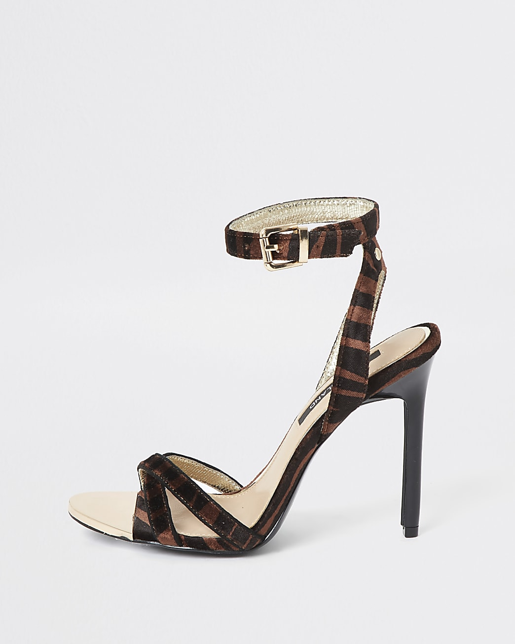 Brown animal print cross strap heeled sandals