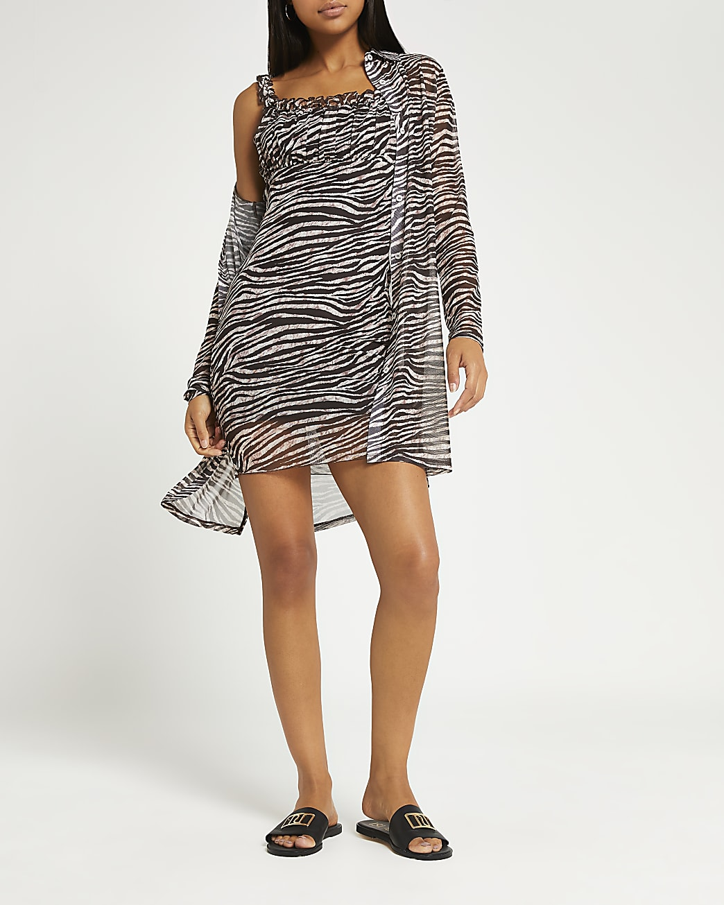 Brown animal print dress and cardigan set
