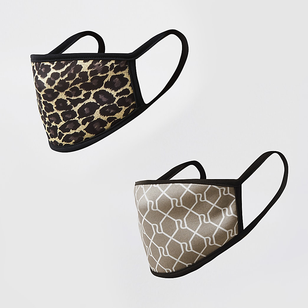 Brown animal print face covering 2 pack