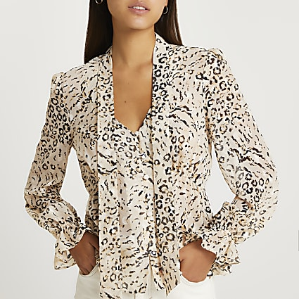 Brown animal print frill blouse top