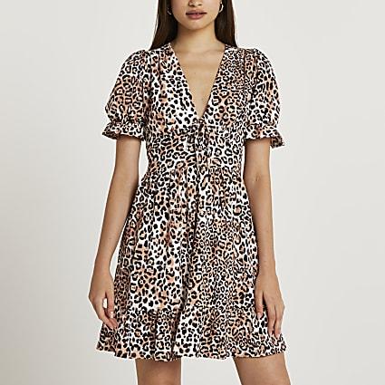 Brown animal print frill hem mini dress