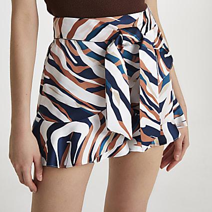 Brown animal print frill hem shorts