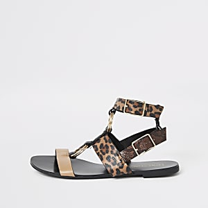 Brown animal print gladiator sandals