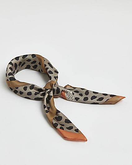 Brown animal print hair scarf