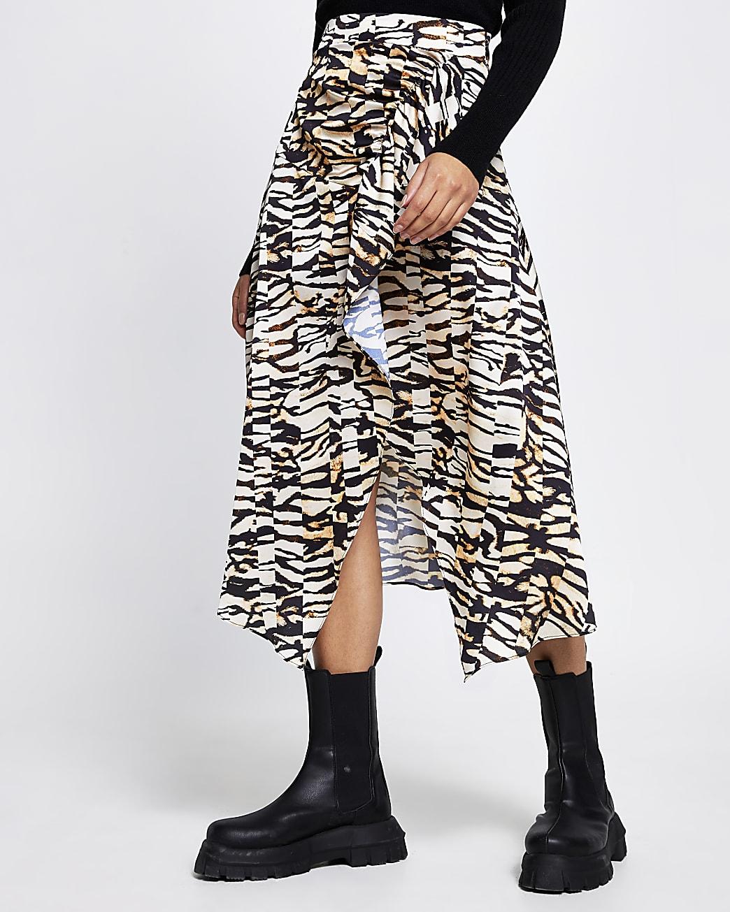 Brown animal print hem midi skirt