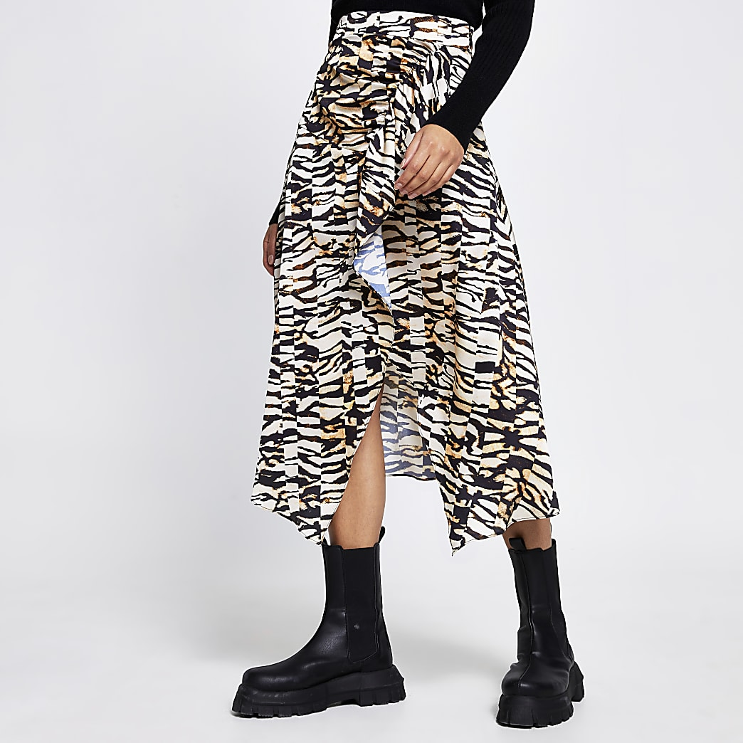 Brown animal print hem midi skirt