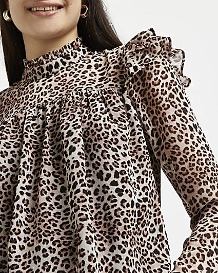 Brown animal print high neck blouse