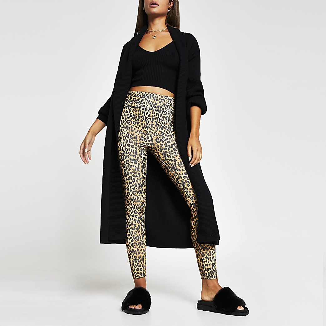 Brown animal print high waist leggings