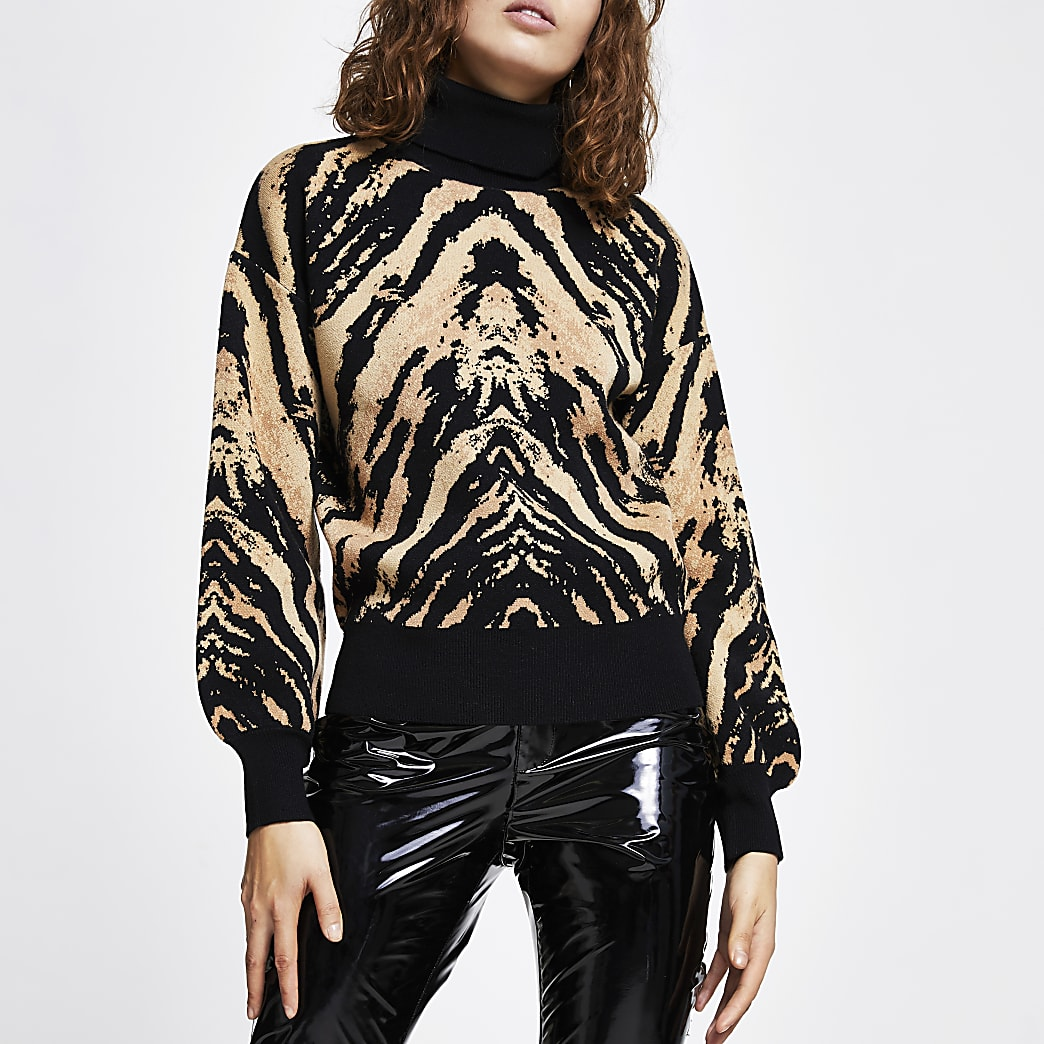 Brown animal print jumper