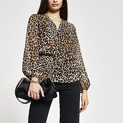 Brown animal print long sleeve blouse
