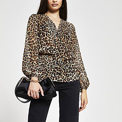 Brown animal print long sleeve blouse