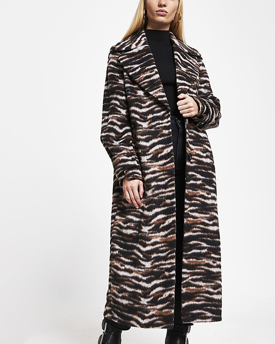 Brown animal print longline coat