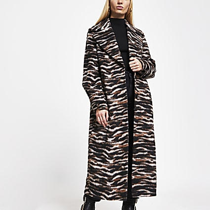 Brown animal print longline coat