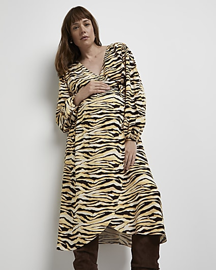 Brown animal print maternity midi dress