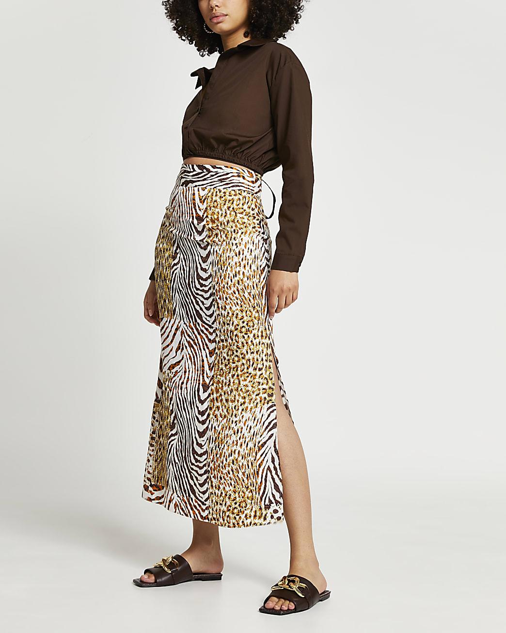 Brown animal print maxi pleat skirt
