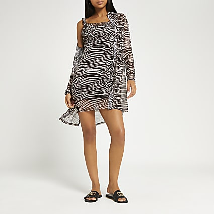 Brown animal print mesh dress and cardigan