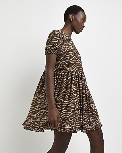 Brown animal print mini dress