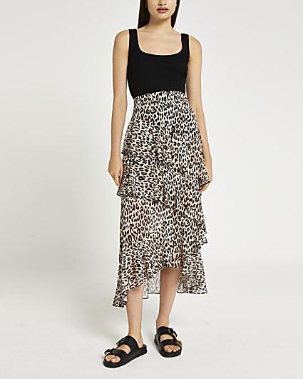 Brown animal print ruffle midi skirt