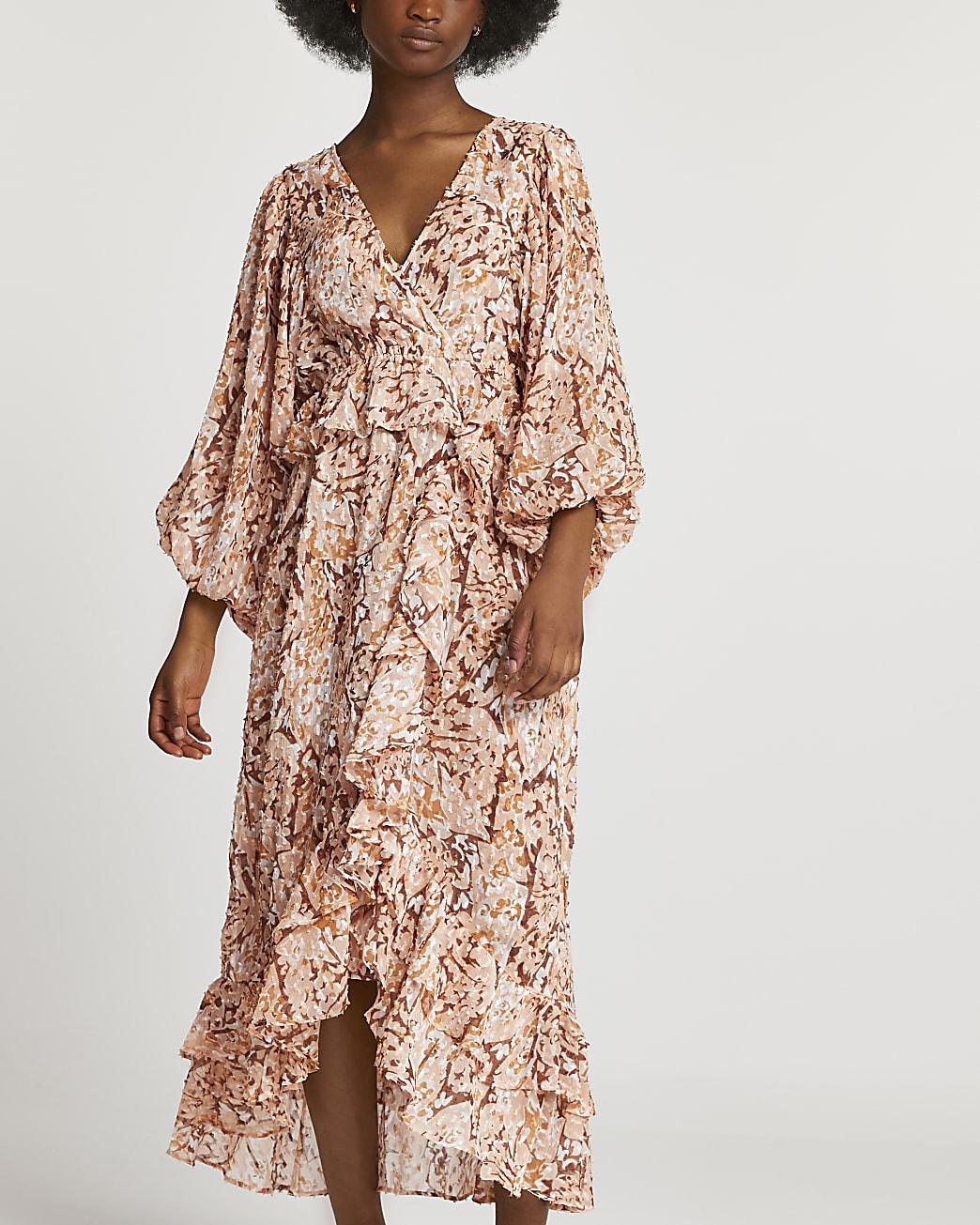 Brown animal print ruffled maxi dress