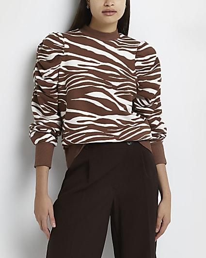 Brown animal print ruffled sweatshirt