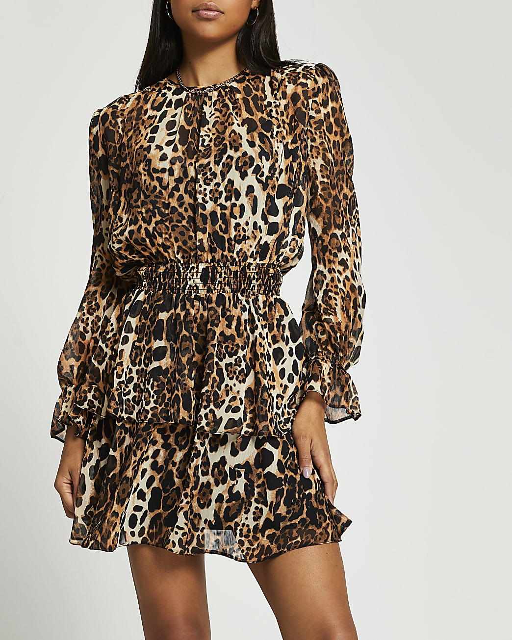 Brown animal print shirred mini dress