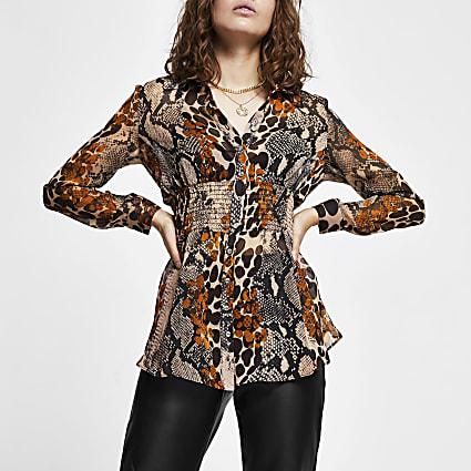 Brown animal print shirred waist shirt