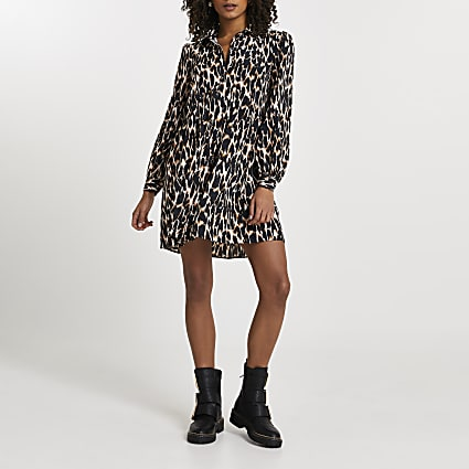 Brown animal print shirt smock mini dress