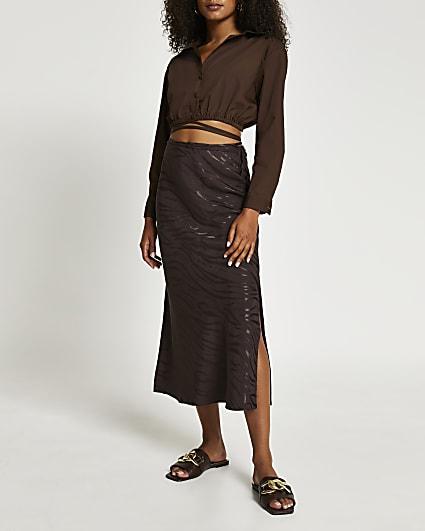 Brown animal print side split maxi skirt