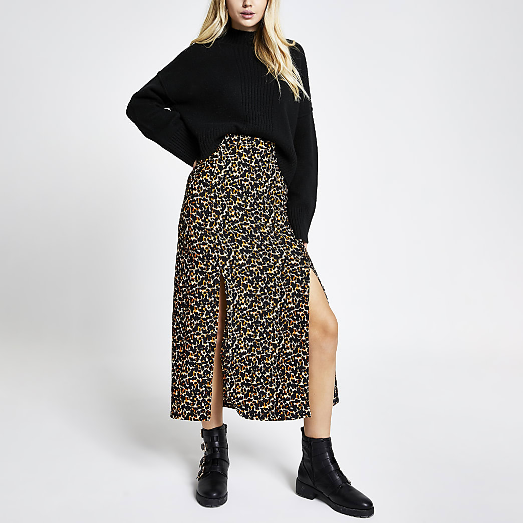 Brown animal print split leg midi skirt
