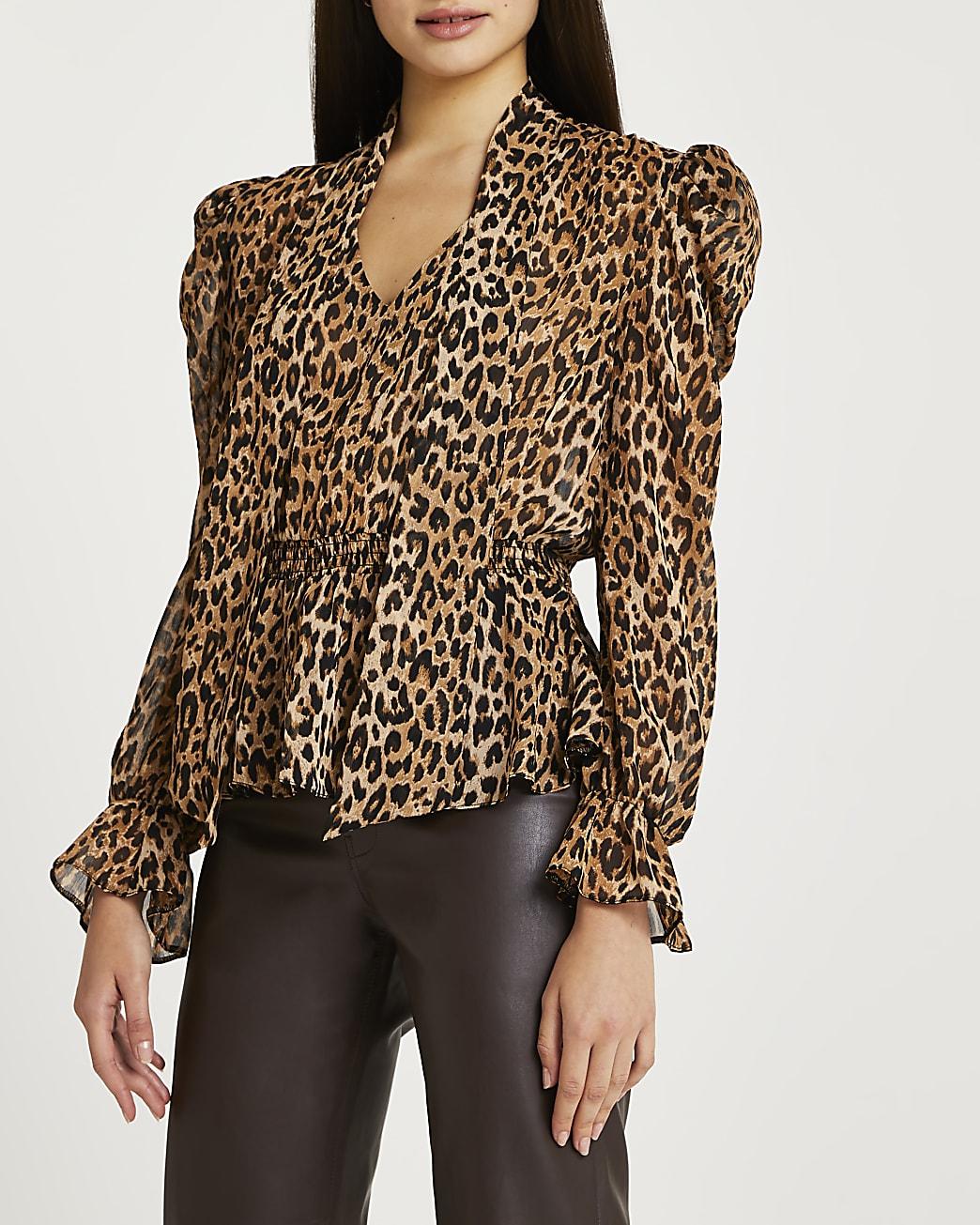 Brown animal print tie neck blouse