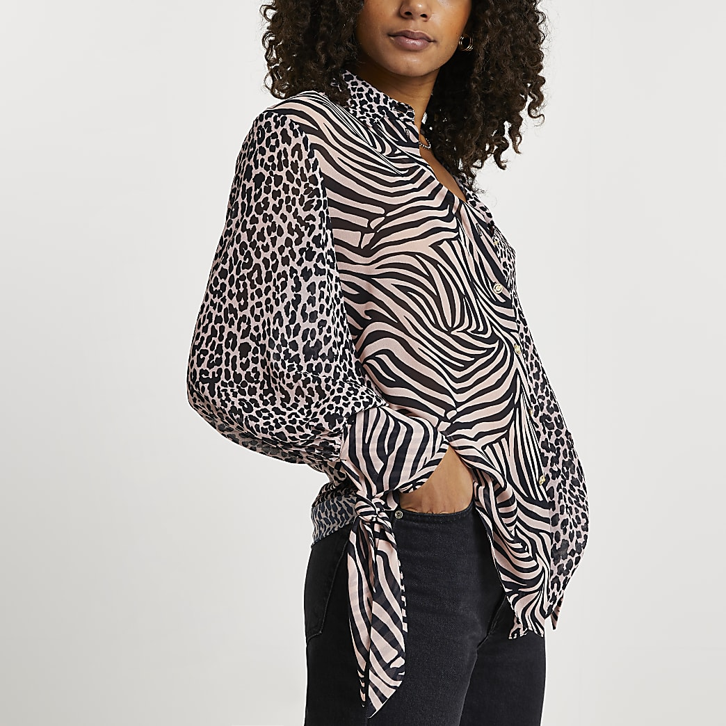 Brown animal print tie shirt