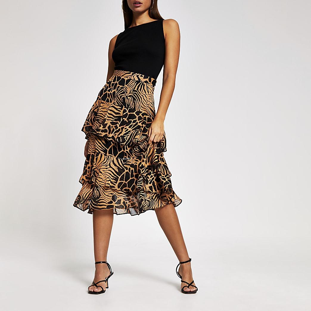 Brown animal print tiered frill midi skirt