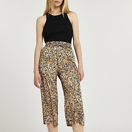 Brown animal print wide leg crop trousers