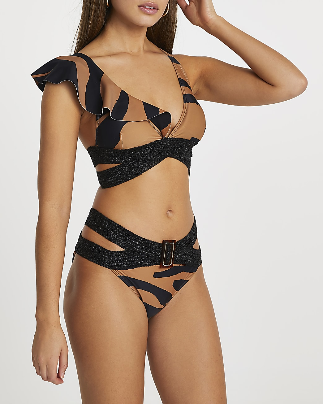 Brown animal print wrap belted bikini brief