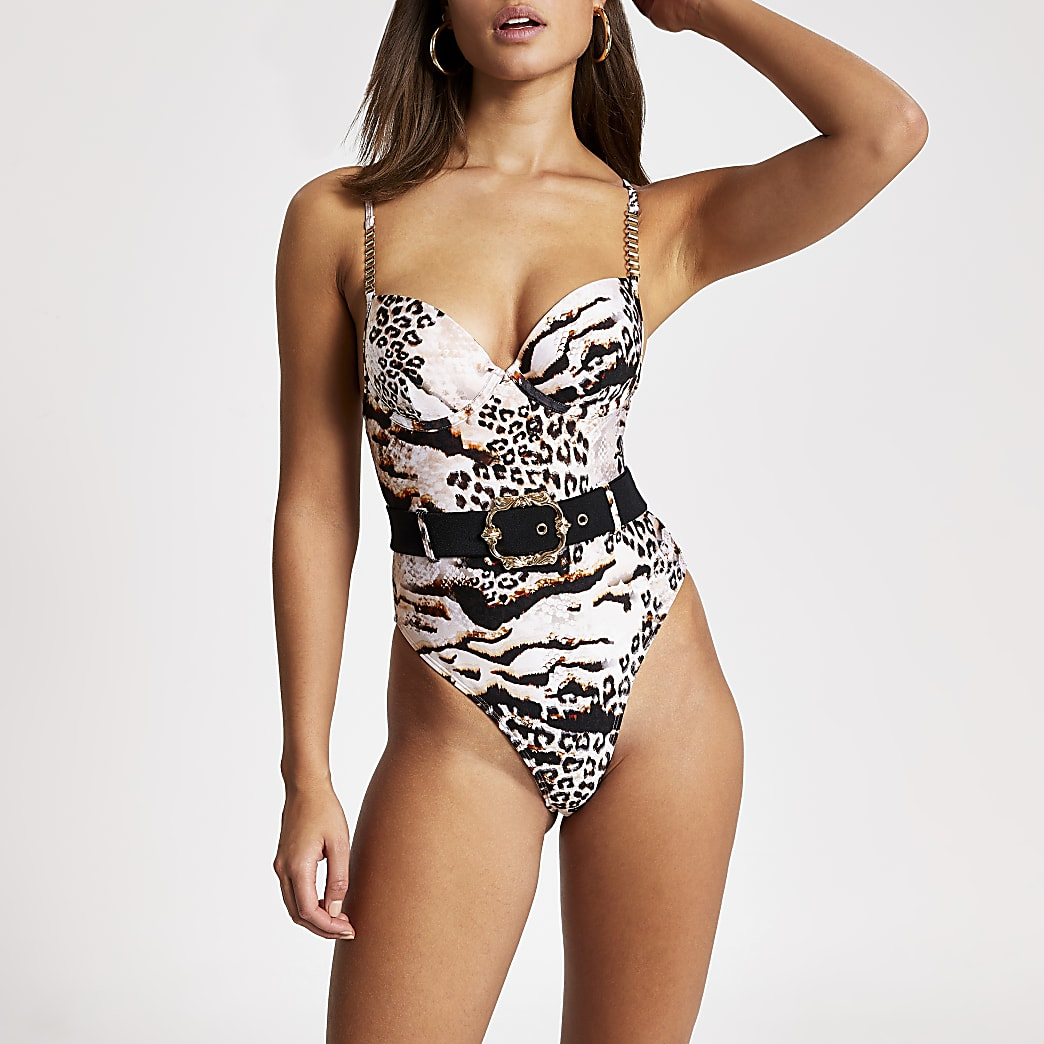 Brown animal printed belted plunge swimsuit