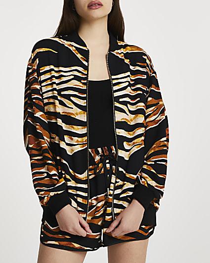 Brown animal printed bomber jacket