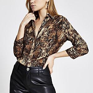 Bruin overhemd met dierenprint en lange mouwen
