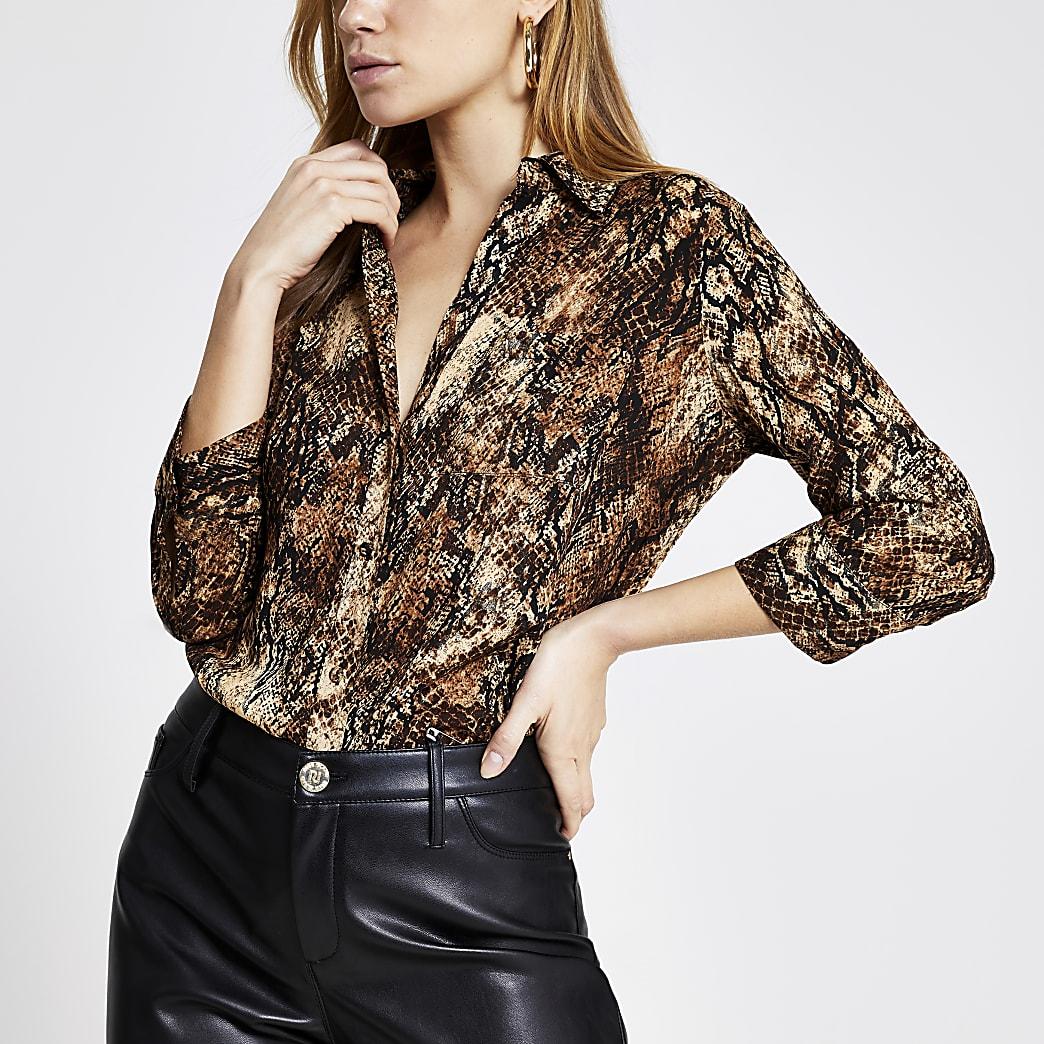 Brown animal printed long sleeve shirt