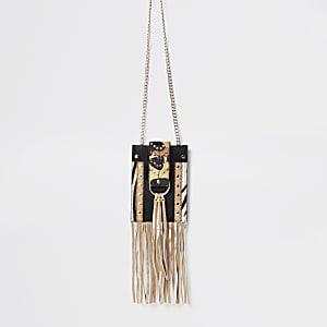 Brown anmal print leather cross body bag