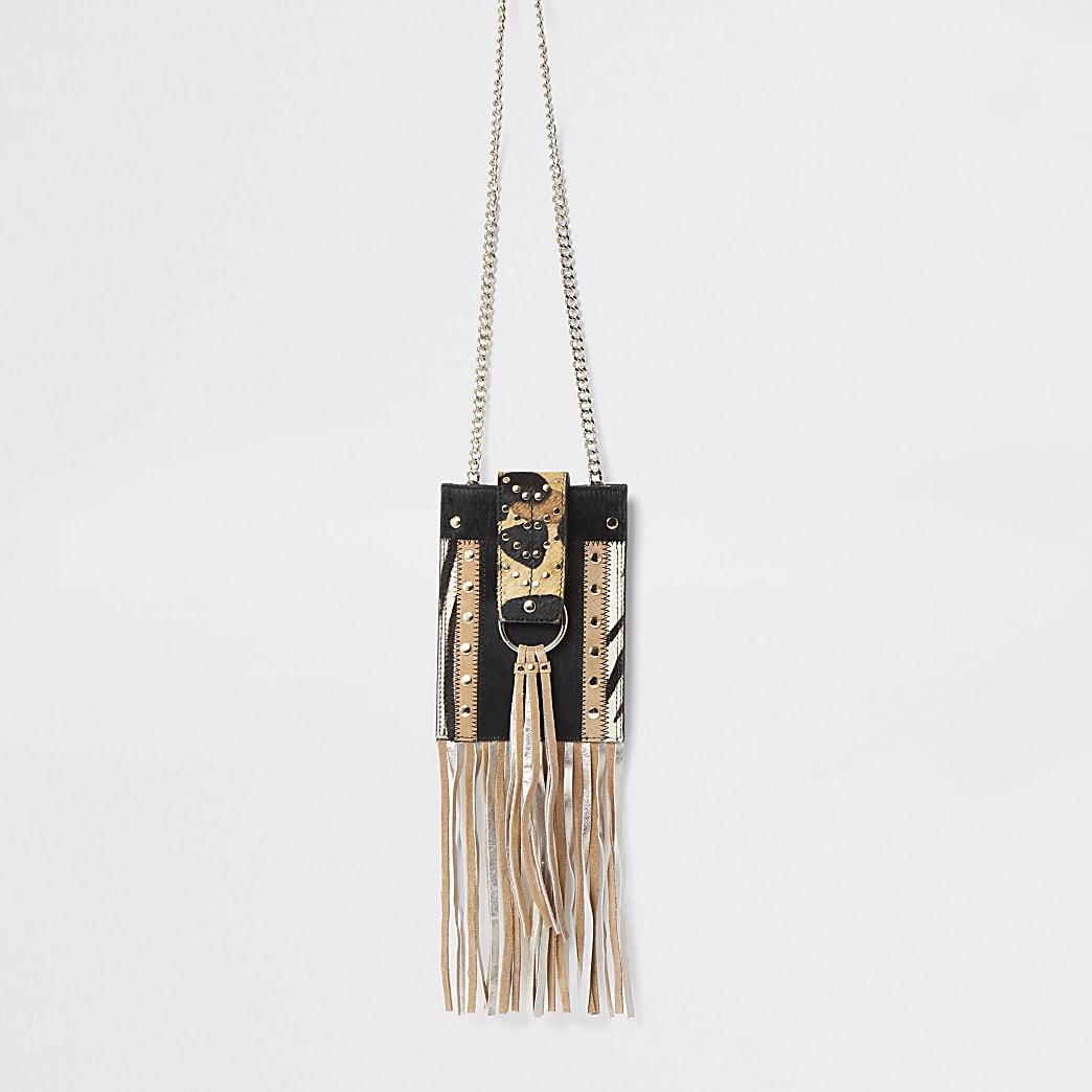 Brown anmal print leather cross body Handbag