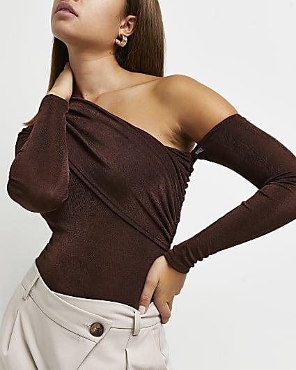 Brown asymmetric bodysuit