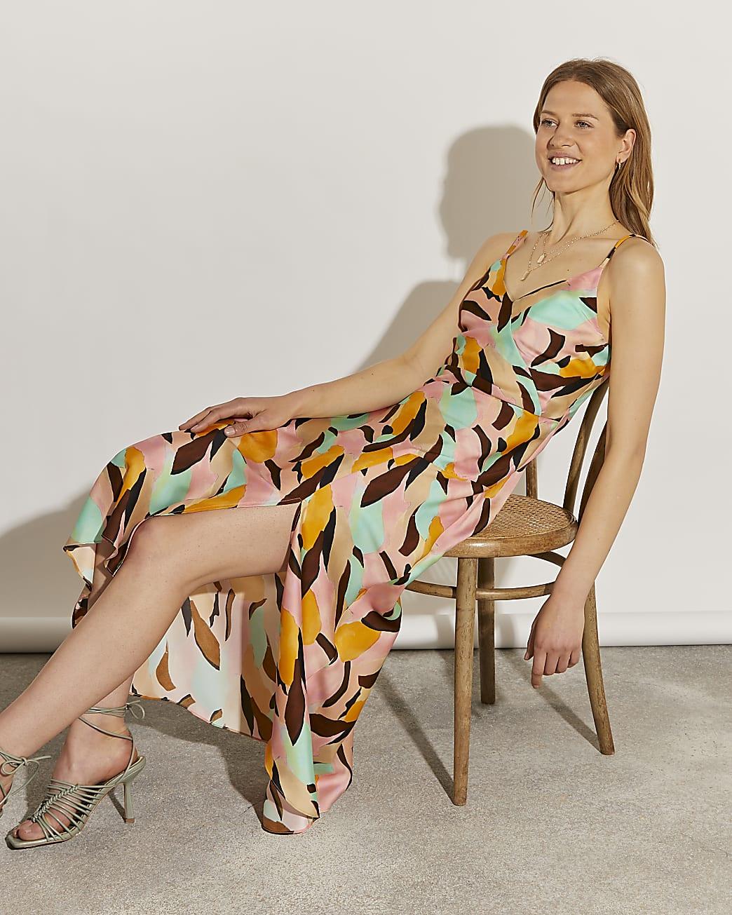 Brown asymmetric slip dress