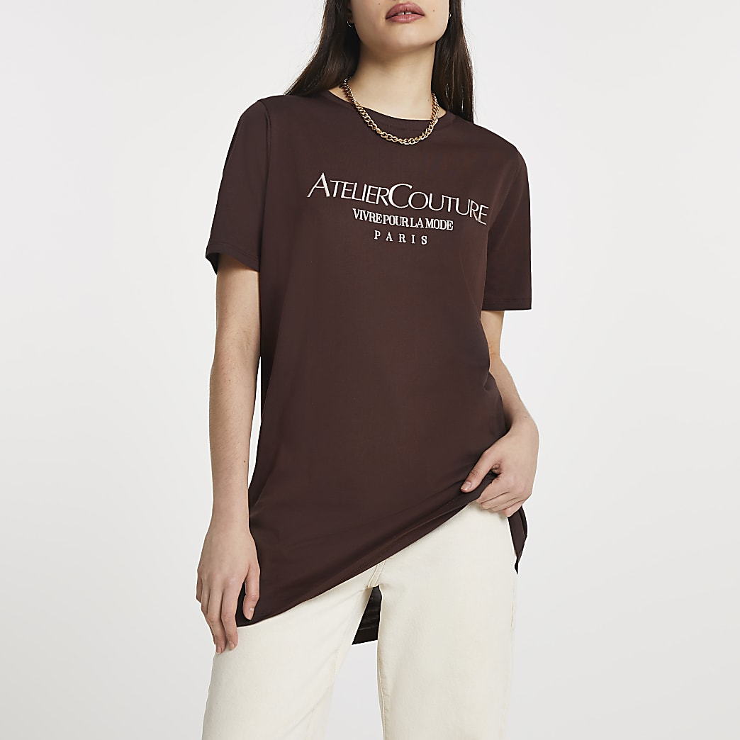 Brown 'Atelier Couture' oversized t-shirt