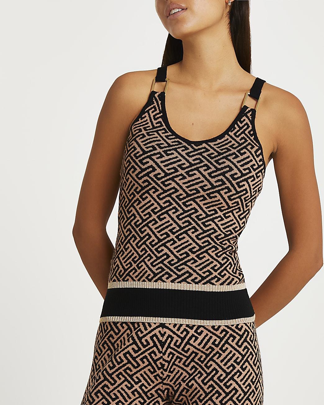 Brown aztec print vest