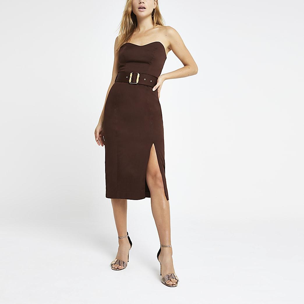 Brown bandeau bodycon dress