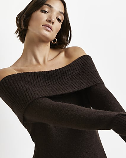 Brown bardot knitted jumper